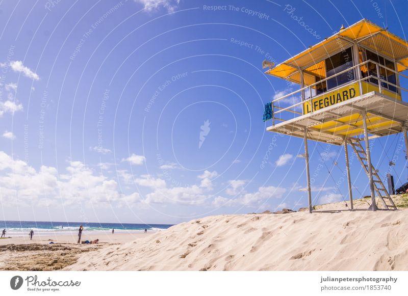 Rettungsschwimmer Turm am Strand schön Leben Erholung Ferien & Urlaub & Reisen Sommer Sommerurlaub Sonne Sonnenbad Meer Insel Wellen Landschaft Sand Himmel