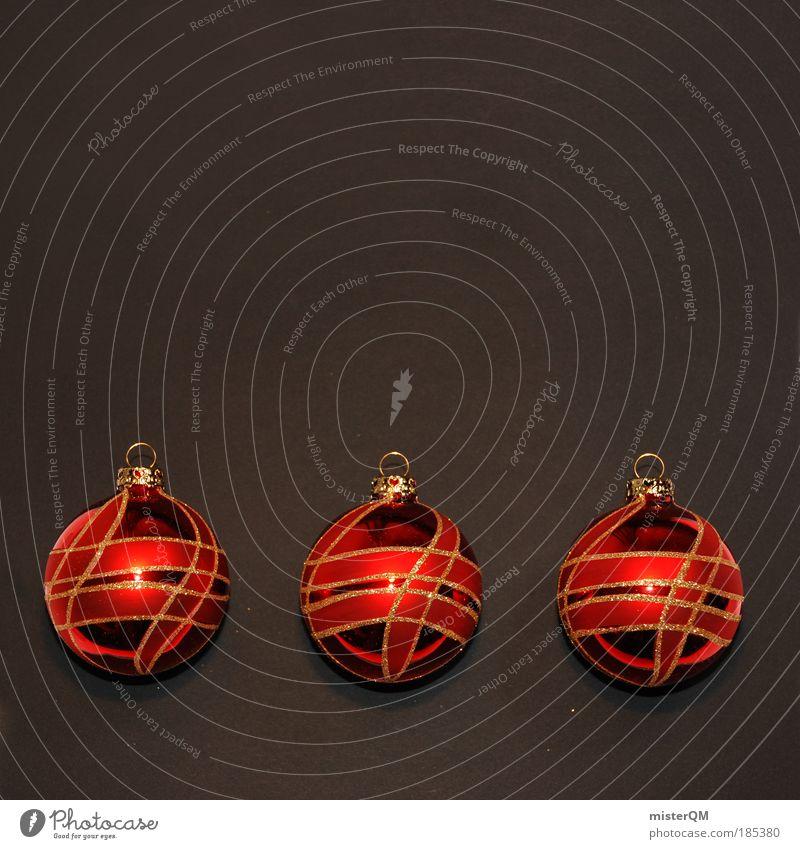 Abgezählt. Weihnachten & Advent rot schwarz Kunst glänzend Dekoration & Verzierung modern ästhetisch Gold Kultur 3 Kitsch Kugel Vorfreude heilig falsch