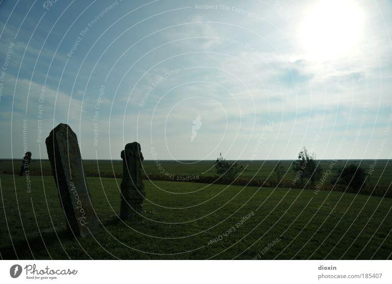 Vergänglichkeit Natur Landschaft Himmel Wolken Sonne Sonnenlicht Schönes Wetter Pflanze Gras Insel gruselig historisch blau grün ruhig Traurigkeit Trauer Tod