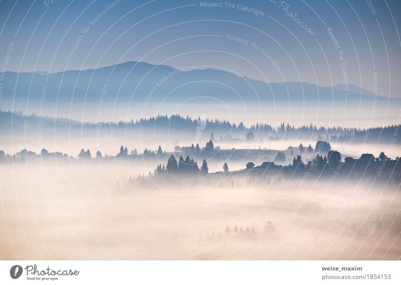 Nebeliger Morgen des Herbstes in den Karpatenbergen Himmel Natur Ferien & Urlaub & Reisen blau weiß Baum Landschaft Wolken Haus Wald Berge u. Gebirge Wetter