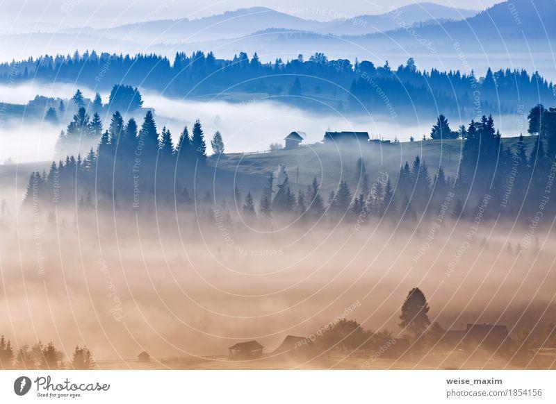 Nebeliger Sonnenaufgang des Herbstes in den Karpatenbergen. Alpendorf Himmel Natur Ferien & Urlaub & Reisen blau weiß Landschaft Wolken Haus Ferne Wald