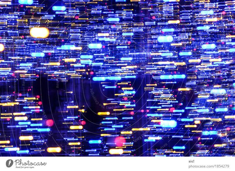 Walking Through Party Linie Streifen Schweif Bewegung glänzend leuchten ästhetisch außergewöhnlich dunkel fantastisch blau mehrfarbig gelb Gefühle Fröhlichkeit