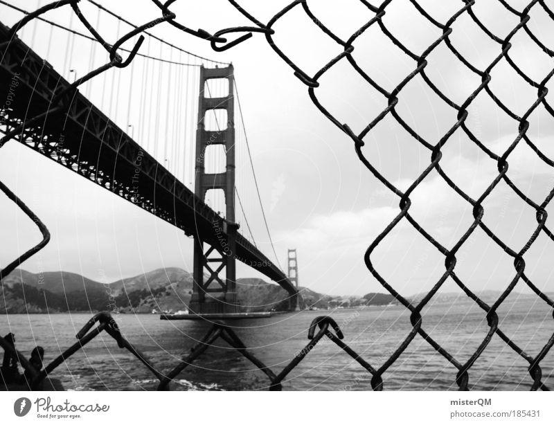 good old times. Stadtzentrum Kraft Golden Gate Bridge Stars and Stripes Amerika Kalifornien Westküste San Francisco San Francisco Bay Gitter Perspektive