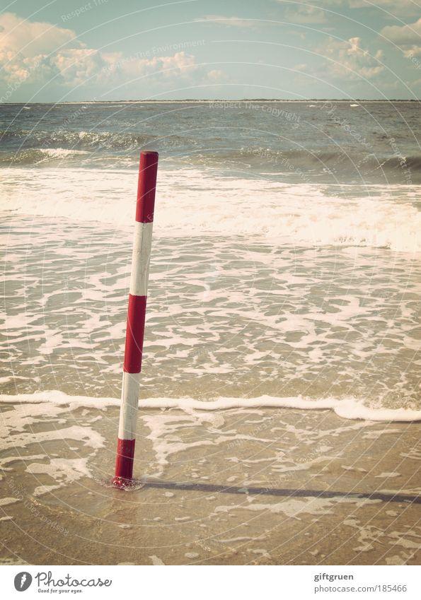 standhaft Natur Wasser Himmel weiß Sonne Meer rot Sommer Strand Ferien & Urlaub & Reisen Ferne Freiheit Landschaft Wellen Küste Umwelt