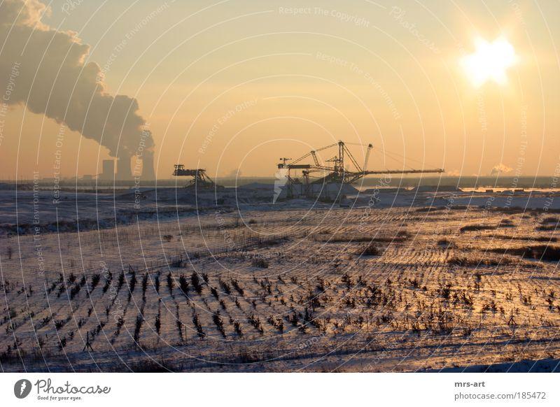 Tagebau Zwenkau Natur Sonne Winter Ferne Schnee Rohstoffe & Kraftstoffe Landschaft Eis Emission Umwelt Horizont Erde Energiewirtschaft Frost Industriefotografie Klima