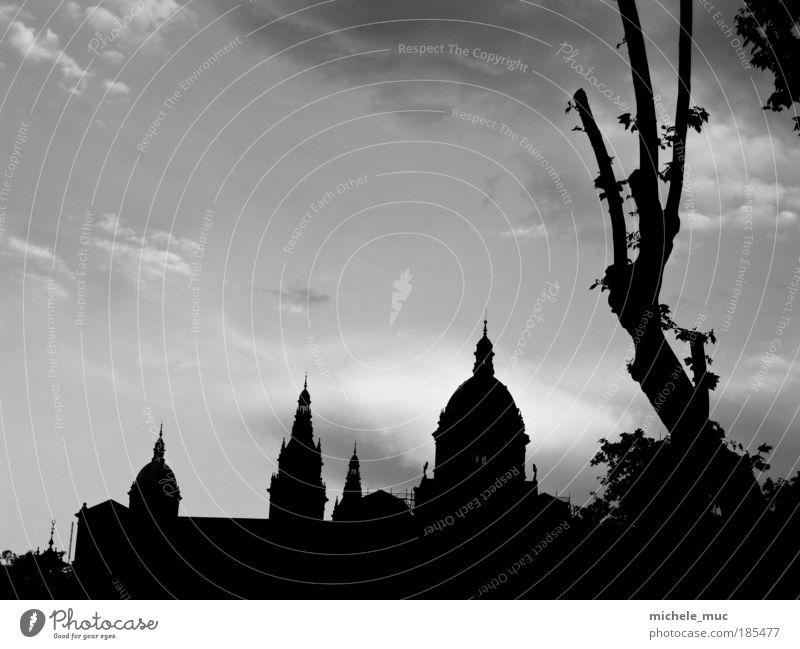 Barcelona Himmel weiß Baum Sommer Ferien & Urlaub & Reisen Haus schwarz Wolken Stein Architektur Europa Kirche Dach Bauwerk Spanien
