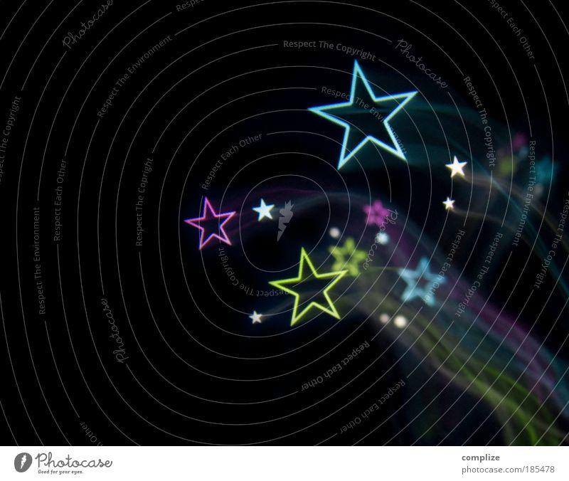 photocase stars* Nachtleben Diskjockey Feste & Feiern clubbing Silvester u. Neujahr blau grün violett rosa 2010 Langzeitbelichtung Rakete Komet Sternschnuppe