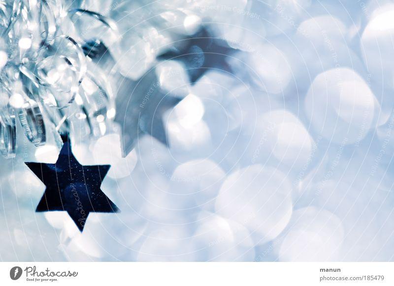 Sternenzeit Weihnachtsdekoration Weihnachten & Advent weiß blau Winter Licht kalt Ornament Freude Religion & Glaube Feste & Feiern glänzend Textfreiraum frisch