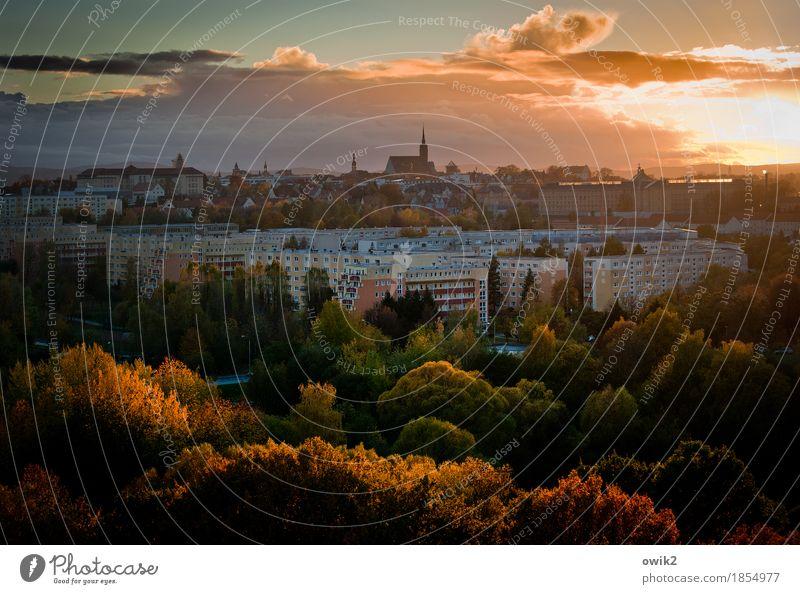 Bunte Stadt Himmel alt Baum Landschaft Wolken Haus Wald Herbst Gebäude Deutschland Fassade Horizont leuchten Idylle Kirche