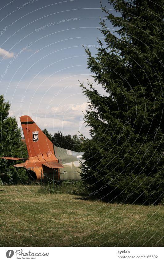 Pipipause für Kampfpiloten Natur Himmel Baum Pflanze Wolken Wiese Landschaft Flugzeug verrückt Sicherheit Luftverkehr Technik & Technologie bedrohlich Flughafen Maschine Krieg