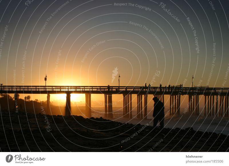 Sonnenaufgang Pier Ventura schön Erholung Ferien & Urlaub & Reisen Sommer Strand Meer Wellen Natur Landschaft Sand Himmel Horizont Küste dunkel aquatisch
