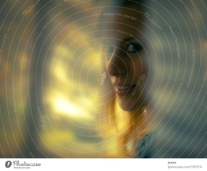 EinBlick Frau Mensch Jugendliche schön gelb Leben feminin Glück Kopf Zusammensein blond Erwachsene elegant gold weich