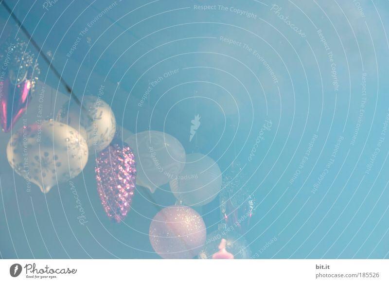 LUFTIMAS Weihnachten & Advent weiß blau ruhig Licht Fenster Strukturen & Formen Luft Feste & Feiern glänzend Wohnung rosa Glas elegant Kitsch