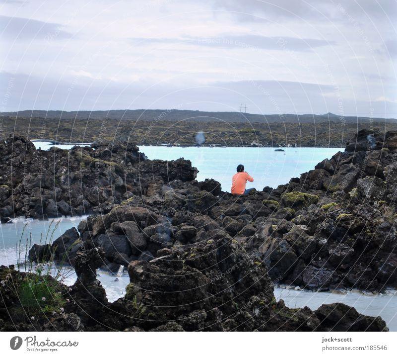 lava lounge Mensch blau Wasser Erholung Landschaft ruhig Ferne kalt natürlich Denken See träumen Kraft Zufriedenheit sitzen Ausflug