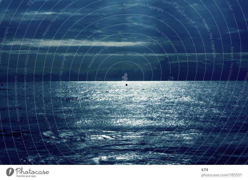 seascape with sunbeams Natur Wasser Sonne Meer blau ruhig Landschaft Horizont Sehnsucht leuchten Strahlung harmonisch Fernweh