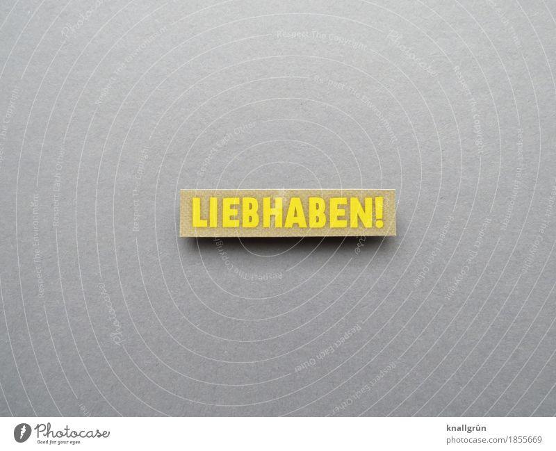 LIEBHABEN! Freude gelb Liebe Gefühle Glück grau Zusammensein Freundschaft Zufriedenheit Schriftzeichen Kommunizieren Schilder & Markierungen Lebensfreude