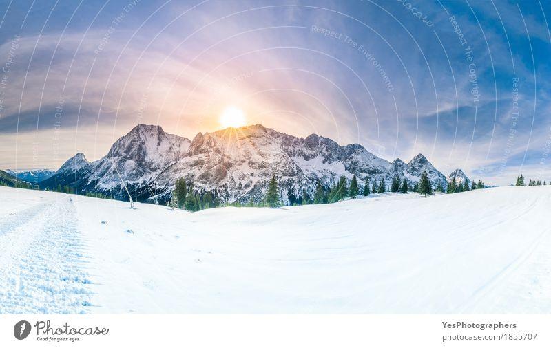 Wintersonnenschein über schneebedeckten Bergen Natur Ferien & Urlaub & Reisen blau weiß Baum Landschaft Freude Wald Berge u. Gebirge kalt Schnee Freiheit