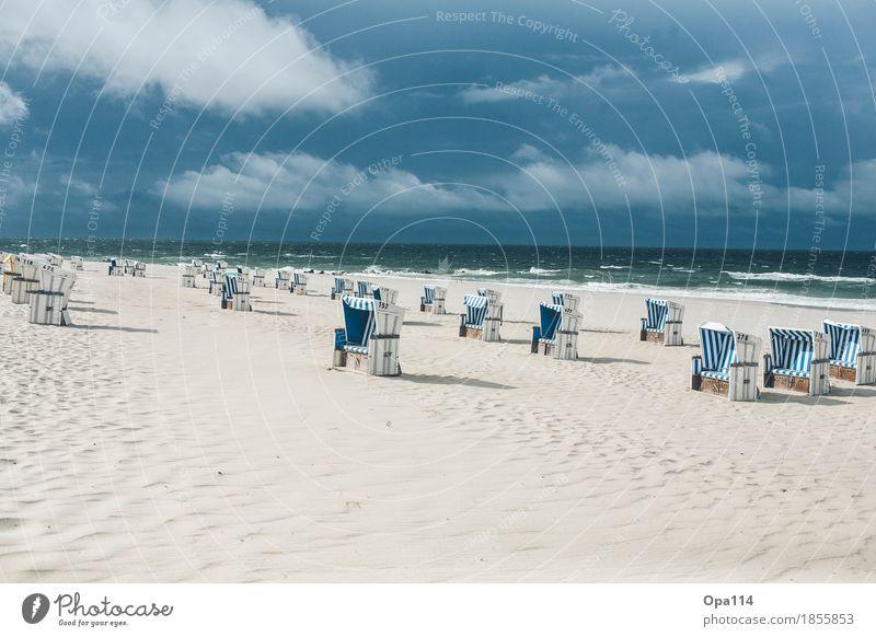 """Sylt Umwelt Natur Landschaft Himmel Sommer Wetter Schönes Wetter Wellen Küste Nordsee Meer Insel atmen blau grün """"Freiheit Ruhe Strand Strandkorb Sand Sandkorn"""