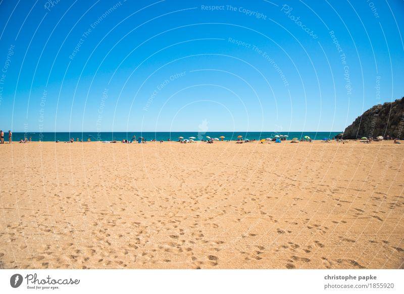 Strandleben Mensch Himmel Ferien & Urlaub & Reisen Sommer Sonne Meer Erholung Küste Tourismus Zufriedenheit Schönes Wetter Wohlgefühl Wolkenloser Himmel