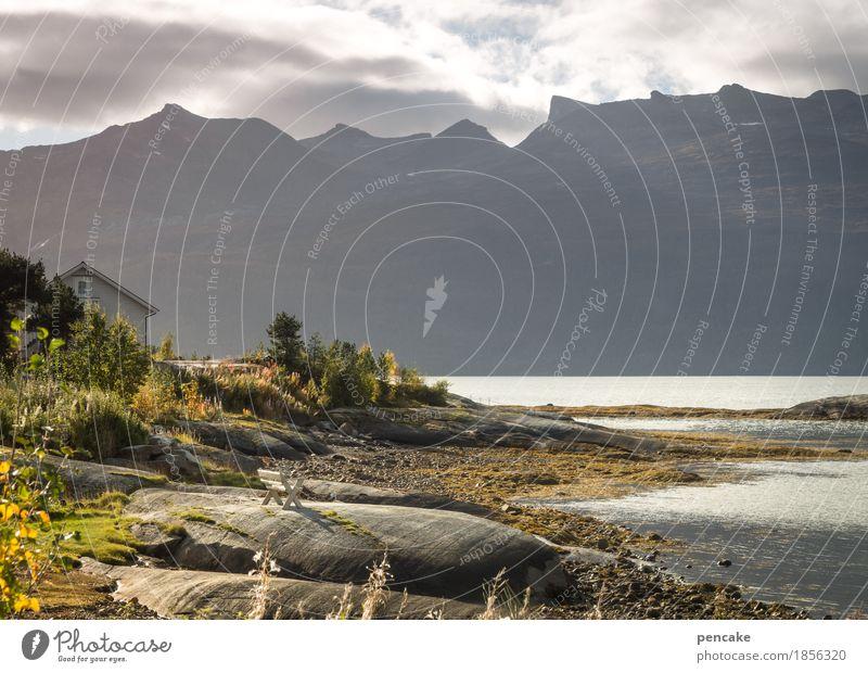 ort der | weißheit Himmel Natur Ferien & Urlaub & Reisen schön Wasser weiß Landschaft Erholung Wolken Haus Berge u. Gebirge Leben Gefühle Herbst Stimmung Sand