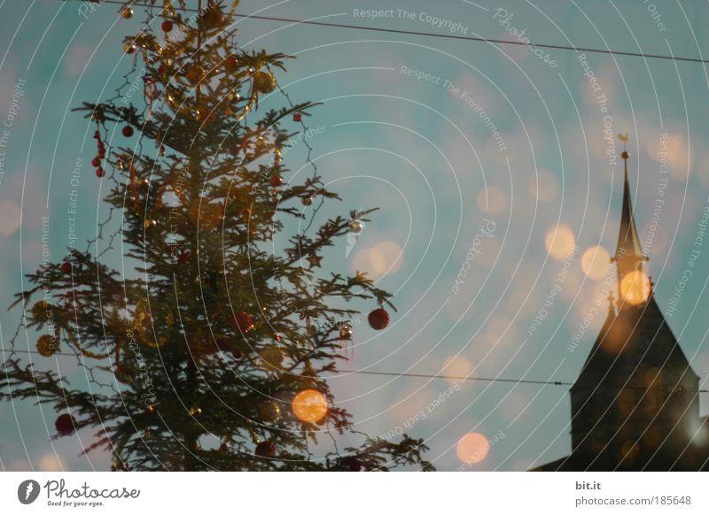 HEILIGE NACHT Weihnachten & Advent Religion & Glaube Feste & Feiern glänzend Kabel Kirche Turm Dach Technik & Technologie Kitsch Weihnachtsbaum Dorf Tanne