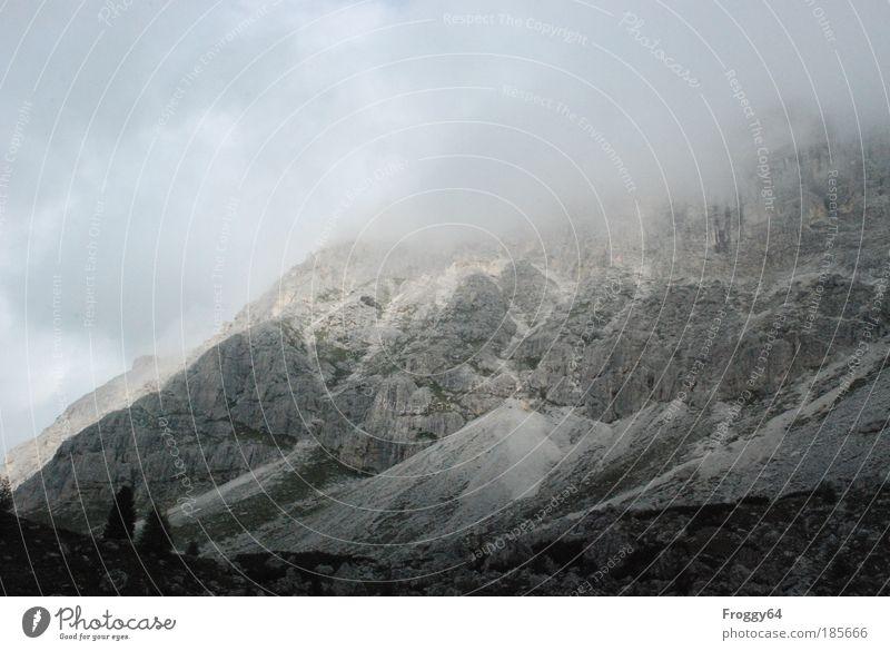 Trübe Aussicht Tourismus Ausflug Ferne Freiheit Berge u. Gebirge wandern Klettern Bergsteigen Seil Klima Wetter Unwetter Wind Sturm Nebel Felsen Alpen Gipfel