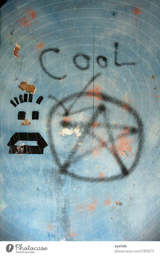 CooL alt blau Gesicht Haus dunkel Wand Graffiti Gebäude Mauer Kunst Fassade wild verrückt kaputt Schriftzeichen Stern (Symbol)
