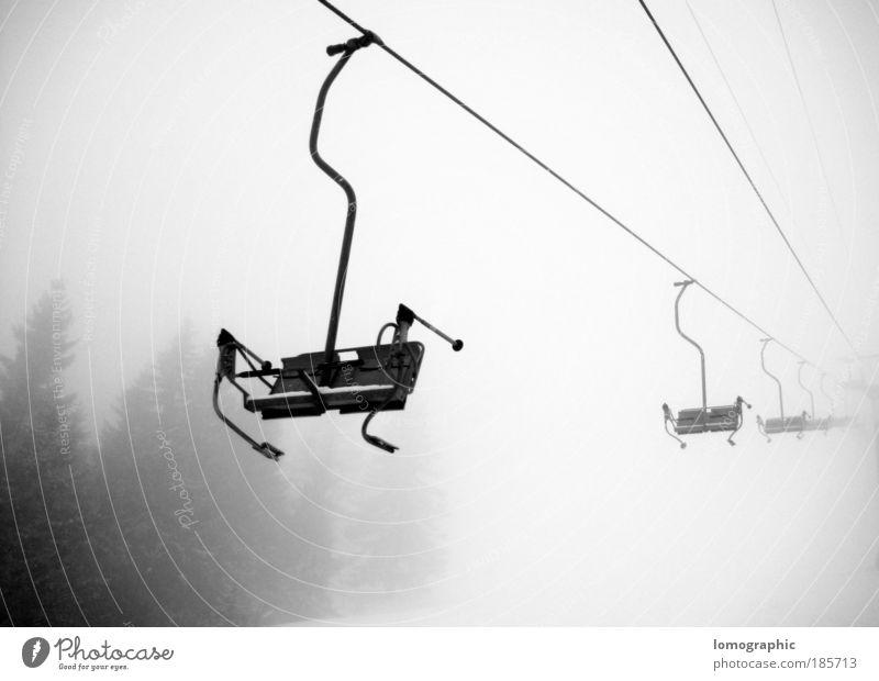 TALFAHRT Skier Skipiste Sesselbahn Natur Winter Nebel Schnee Schneefall Alpen Berge u. Gebirge Seilbahn Skilift Freiheit Schwarzweißfoto Außenaufnahme