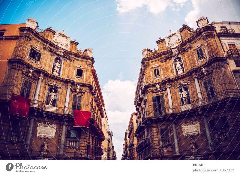 Stadtansichtdetail von Palermo-Stadt, Sizilien, Italien Ferien & Urlaub & Reisen alt Haus Straße Architektur Stil Gebäude Kunst Tourismus Fassade Kirche Europa