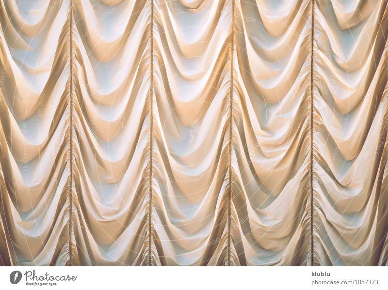 Schöner beige Vorhang Reichtum elegant Stil Design schön Dekoration & Verzierung Hochzeit Kunst Mode Stoff gelb weiß Farbe Gardine Hintergrund drapiert Seide