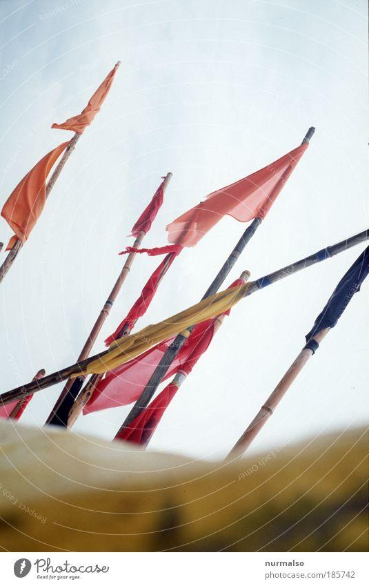das Fähnchen, NICHT in den Wind halten. Natur rot Sommer Ferien & Urlaub & Reisen gelb Arbeit & Erwerbstätigkeit Stil Lebensmittel Kunst Wind Kraft Freizeit & Hobby Tourismus Fisch Klima Fahne