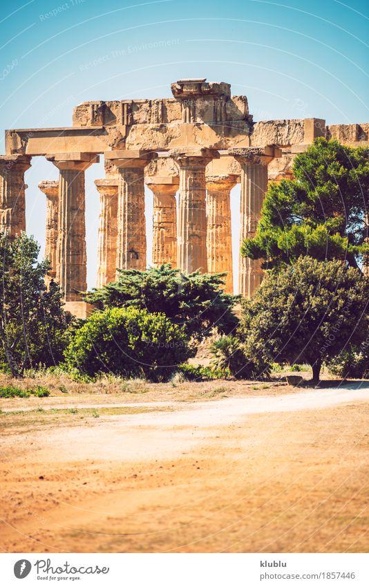 Altgriechischer Tempel in Selinunte, Sizilien, Italien Ferien & Urlaub & Reisen Tourismus Kultur Landschaft Himmel Ruine Gebäude Architektur Denkmal Stein alt