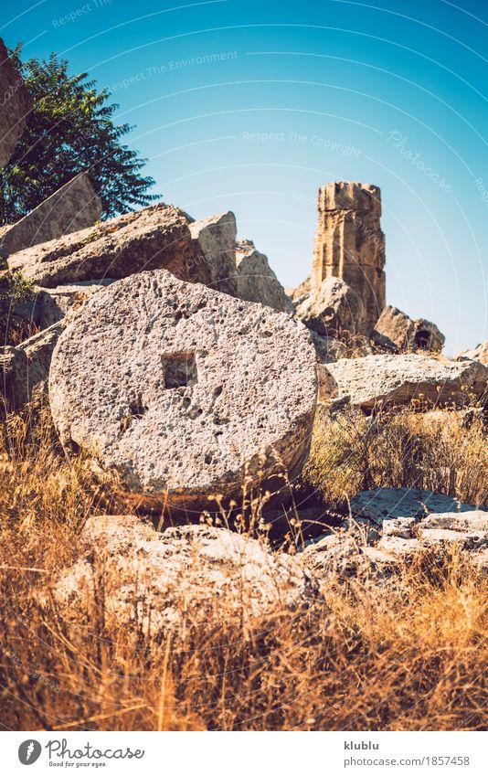 Altgriechischer Tempel in Selinunte, Sizilien, Italien. Detailansicht. Ferien & Urlaub & Reisen Tourismus Kultur Landschaft Himmel Ruine Gebäude Architektur