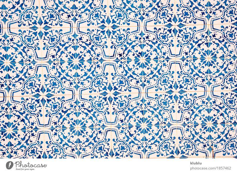 Blaues und weißes Keramikziegelmuster. alt blau Farbe Architektur Gebäude Kunst Design Dekoration & Verzierung Bad Tradition Bild Fliesen u. Kacheln Material