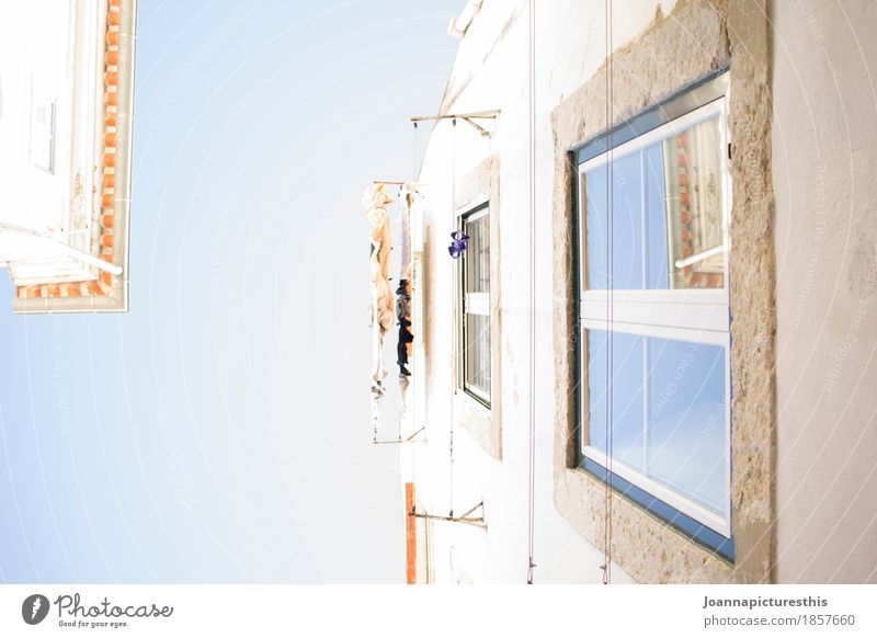 Oben Himmel blau Stadt weiß Fenster Architektur Gebäude Fassade Wohnung Häusliches Leben träumen Perspektive groß Schönes Wetter Baustelle Hoffnung