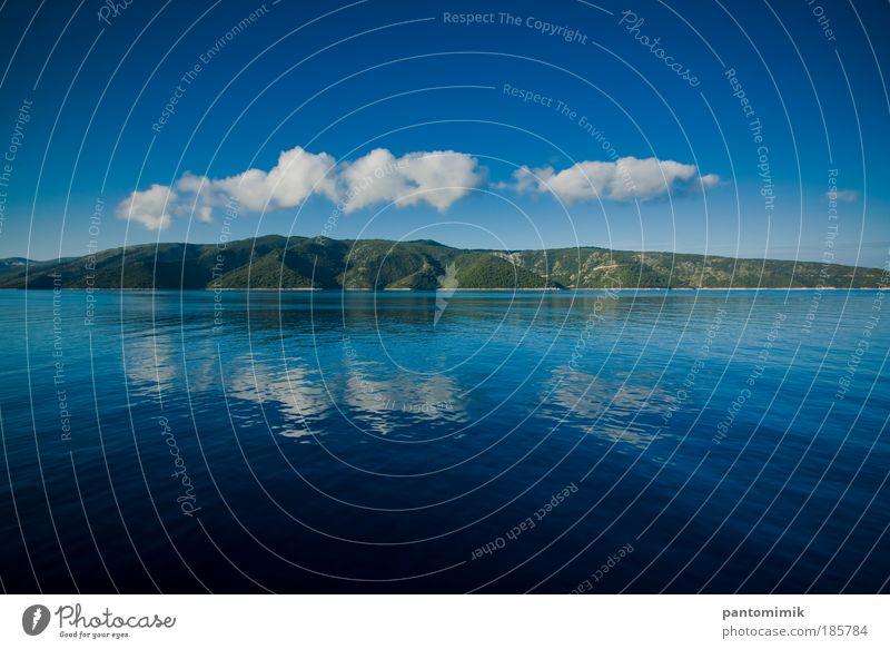 Oben ist unten Ausflug Sommer Landschaft Wasser Himmel Wolken Schönes Wetter Wald Küste Hvar Kroatien Passagierschiff frisch natürlich schön blau grün
