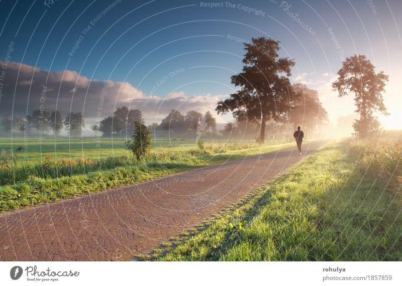Läufer in der Landschaft während des nebelhaften Sommersonnenaufgangs Sonne Sport Joggen Mensch Mann Erwachsene Natur Himmel Nebel Gras Wiese Straße