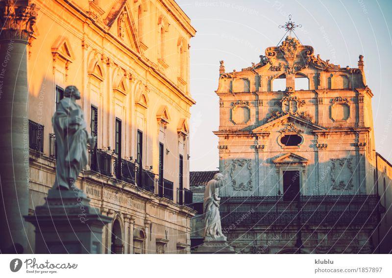 Detailansicht von Syrakus, Sizilien, Italien Himmel alt Stadt Meer Landschaft Straße Architektur Stil Gebäude Tourismus Fassade Aussicht Insel Kultur Balkon