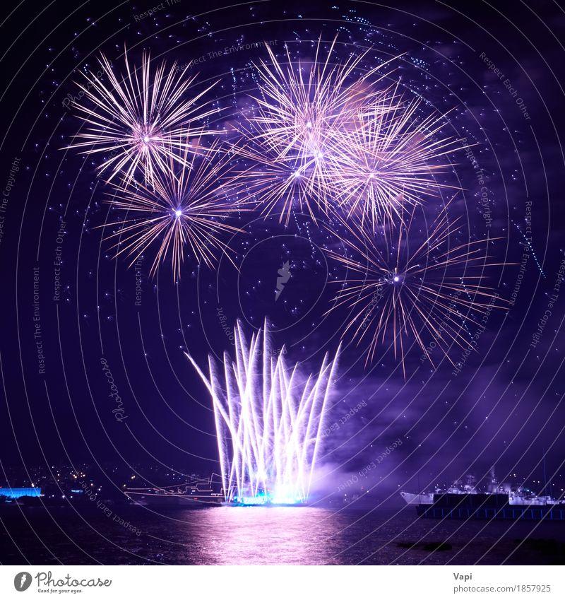 Blaue bunte Feuerwerke auf dem schwarzen Himmel mit Wasserreflexion blau Weihnachten & Advent Farbe weiß rot Freude dunkel Freiheit Feste & Feiern Party See