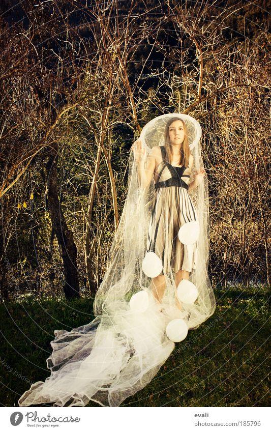 Own little world Frau Mensch Jugendliche weiß Baum feminin Stil Gras Garten Mode Erwachsene elegant gold Sicherheit Luftballon
