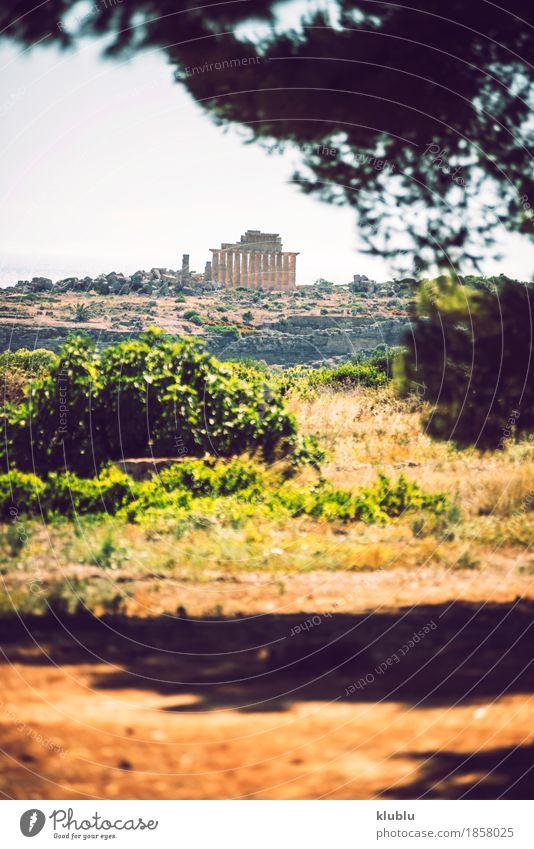 Altgriechischer Tempel in Selinunte, Sizilien, Italien. Ferien & Urlaub & Reisen Tourismus Kultur Landschaft Himmel Ruine Gebäude Architektur Denkmal Stein alt