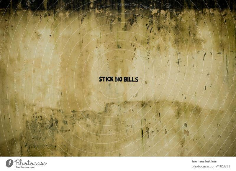 stick no bills schwarz gelb Wand Mauer Kunst braun Zufriedenheit Menschenleer Schilder & Markierungen Beton Schriftzeichen Sicherheit Reinigen Sauberkeit Denken Denkmal