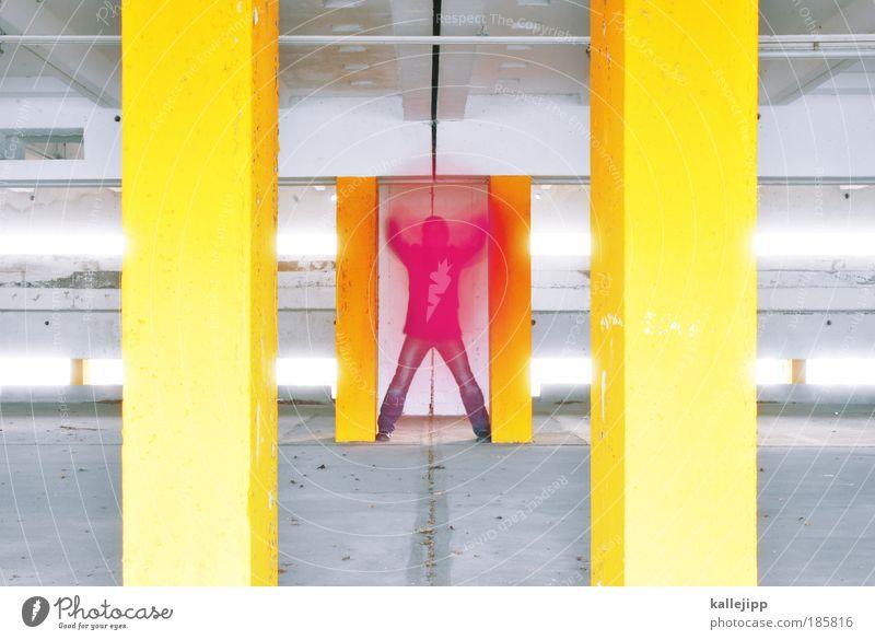 pink im parkhaus Lifestyle Stil Veranstaltung Parkhaus gelb grau rosa rot mehrfarbig Tuch Farbe Erscheinung Säule Strebe Parkplatz Innenarchitektur Beton Mitte