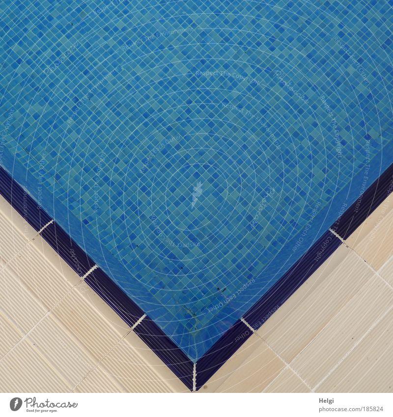 geometrisch... Wasser weiß blau Ferien & Urlaub & Reisen kalt Erholung Stein Linie klein Design nass Perspektive ästhetisch Wellness Ecke Schwimmbad