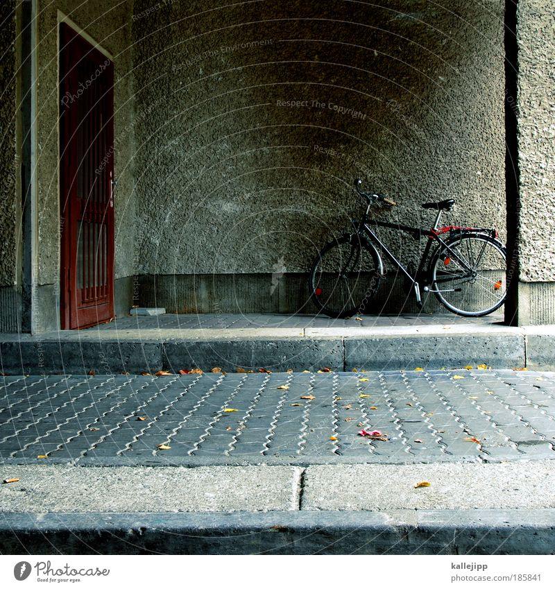 abgestellt Lifestyle Freizeit & Hobby Fahrrad Mauer Wand Tür Verkehr sparsam Eingang Einfahrt Hof Haus Ausfahrt Rad Reifen Schatten gehen Farbfoto