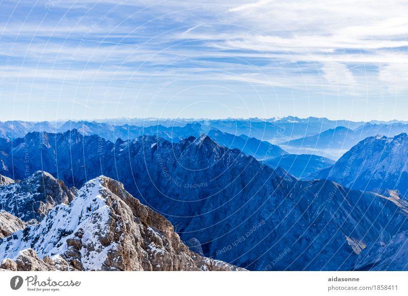 Alpenland Landschaft Felsen Berge u. Gebirge Gipfel Schneebedeckte Gipfel Gletscher Blick wandern Farbfoto Außenaufnahme Menschenleer Tag Panorama (Aussicht)