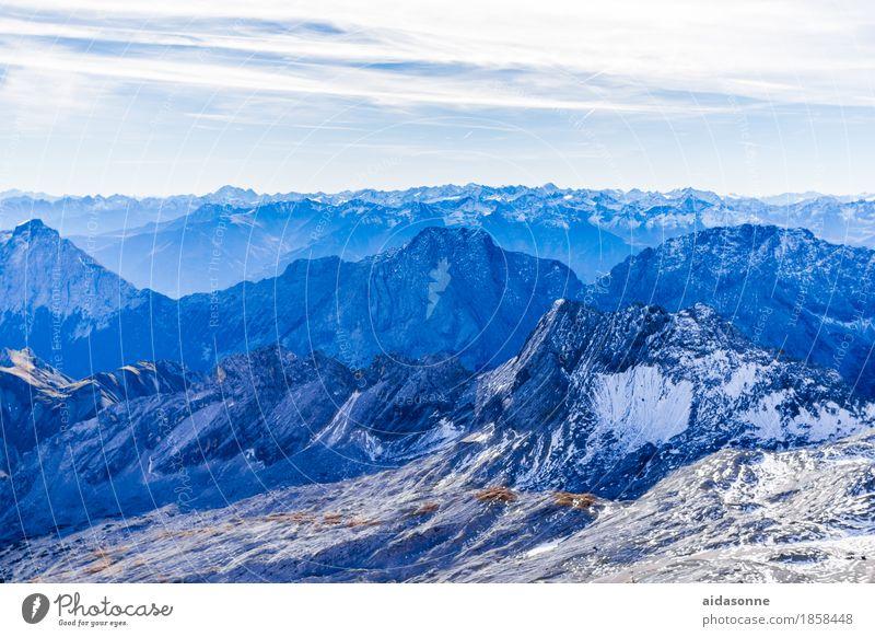 Alpen Landschaft Schnee Felsen Berge u. Gebirge Gipfel Schneebedeckte Gipfel Gletscher ästhetisch blau Farbfoto Außenaufnahme Menschenleer Tag