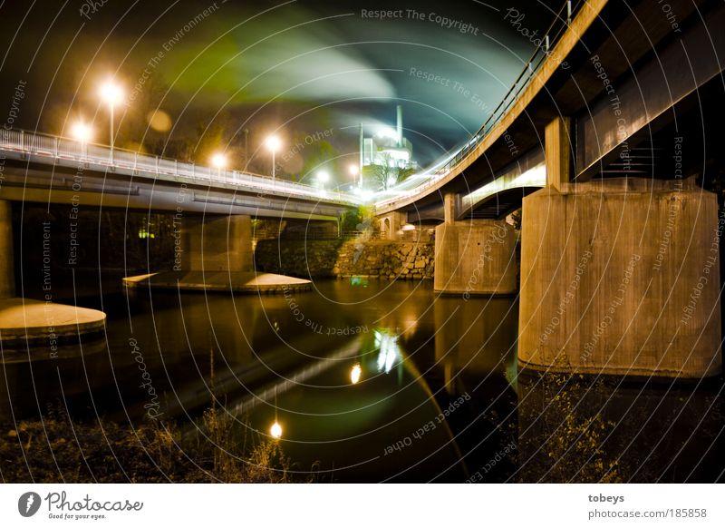 Brückenzauber Straße dunkel Wege & Pfade Stimmung Straßenverkehr Verkehr Industrie Energiewirtschaft Güterverkehr & Logistik Langzeitbelichtung Rauch Nacht