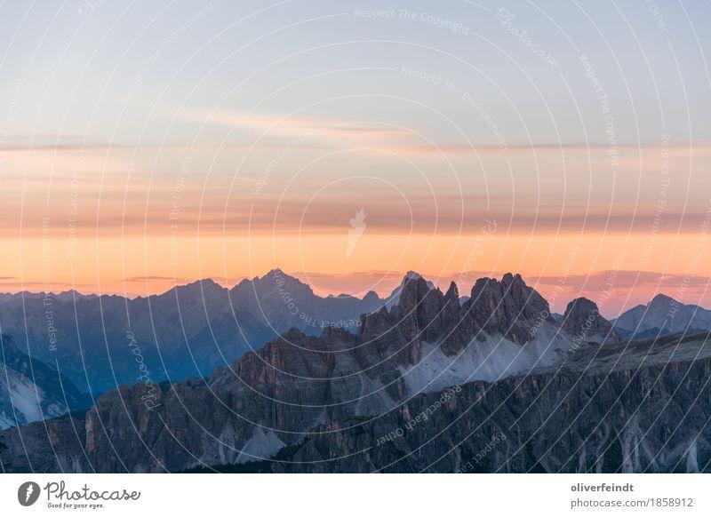 Dolomiten - Sonnenuntergang Ferien & Urlaub & Reisen Tourismus Ausflug Abenteuer Ferne Freiheit Expedition Berge u. Gebirge wandern Umwelt Natur Landschaft