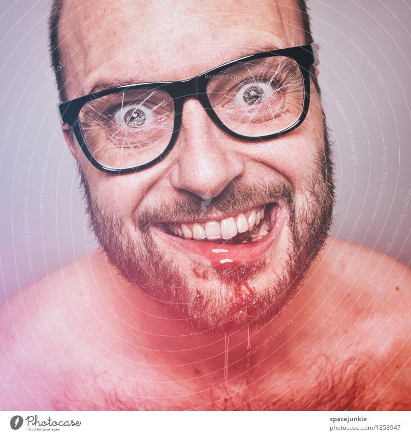 Freak Mensch Jugendliche Mann Junger Mann rot dunkel schwarz Erwachsene maskulin Behaarung Brille Wut Bart gruselig trashig Gewalt